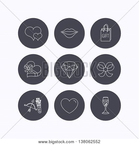 Love heart, brilliant and engagement ring icons. Bow, smile and gift box linear signs. Valentine amour arrows flat line icons. Flat icons in circle buttons on white background. Vector