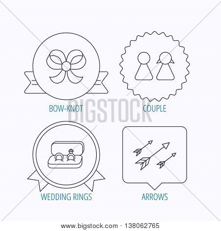 Arrows, couple and wedding rings icons. Bow-knot linear sign. Award medal, star label and speech bubble designs. Vector