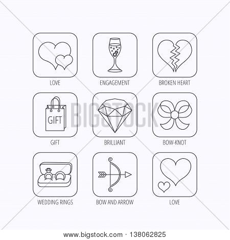 Love heart, gift box and wedding rings icons. Broken heart and engagement linear signs. Valentine amour arrow, brilliant flat line icons. Flat linear icons in squares on white background. Vector