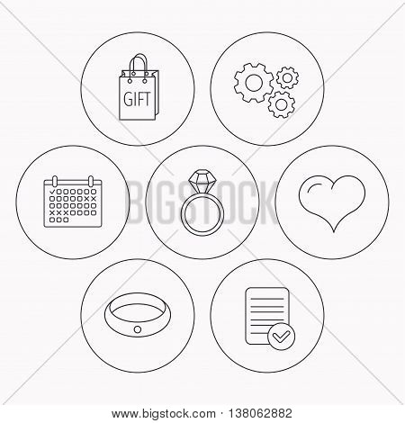 Love heart, gift bag and wedding ring icons. Engagement ring linear sign. Check file, calendar and cogwheel icons. Vector