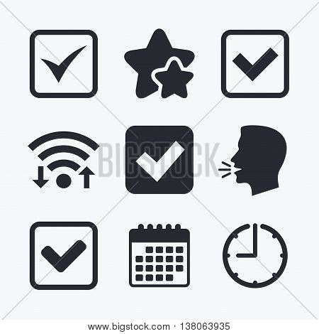 Check icons. Checkbox confirm squares sign symbols. Wifi internet, favorite stars, calendar and clock. Talking head. Vector