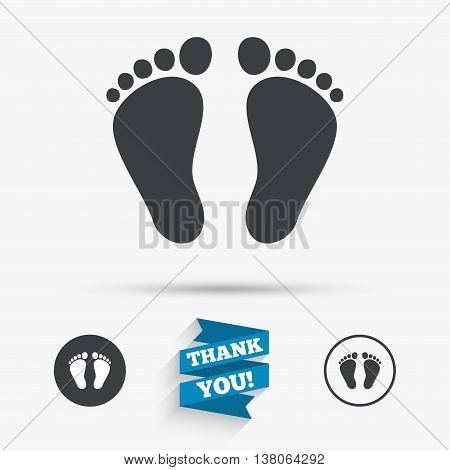 Child pair of footprint sign icon. Toddler barefoot symbol. Flat icons. Buttons with icons. Thank you ribbon. Vector