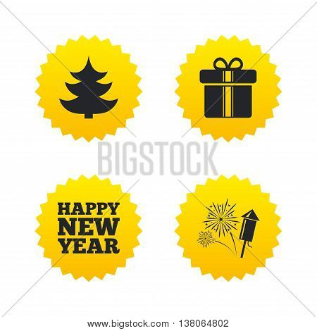 Happy new year icon. Christmas tree and gift box signs. Fireworks rocket symbol. Yellow stars labels with flat icons. Vector