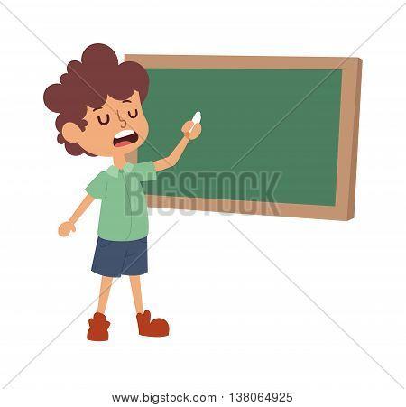 Concept of simple lesson of child at school. Smiling cute portrait school boy grade little kid class board. Elementary schoolboy kid happy chalk knowledge school boy class board.