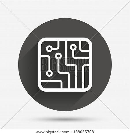 Circuit board sign icon. Technology scheme square symbol. Circle flat button with shadow. Vector