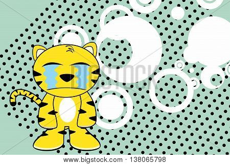 crying young tiger plush cartoon background in vector format very easy to edit