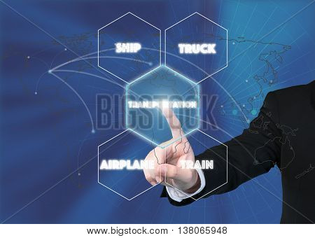 Transportation network concept - Businessman working with virtual interface Transportation icon on transportation network concept.Elements of this image furnished by NASA.