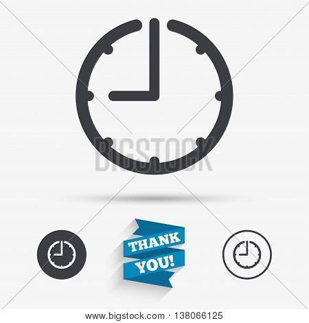 Clock time sign icon. Watch or timer symbol. Flat icons. Buttons with icons. Thank you ribbon. Vector