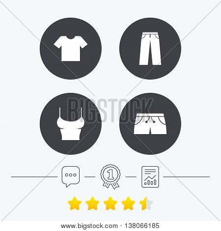 Clothes icons. T-shirt and pants with shorts signs. Swimming trunks symbol. Chat, award medal and report linear icons. Star vote ranking. Vector