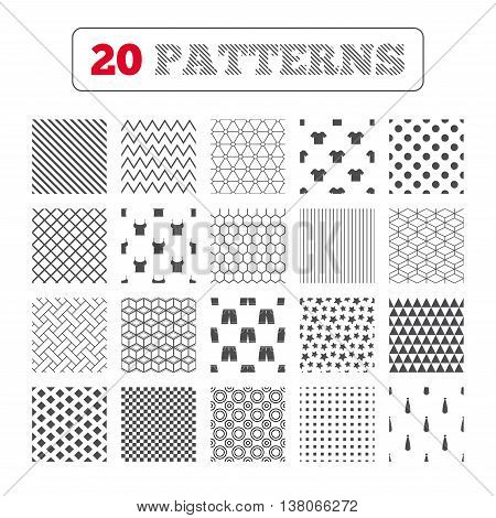 Ornament patterns, diagonal stripes and stars. Clothes icons. T-shirt and bermuda shorts signs. Business tie symbol. Geometric textures. Vector