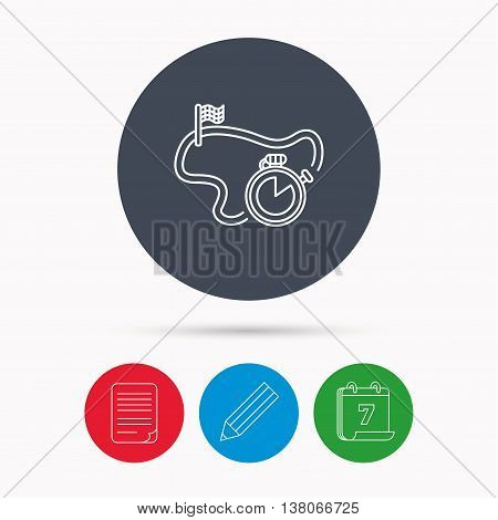 Race road icon. Finishing flag with timer sign. Calendar, pencil or edit and document file signs. Vector