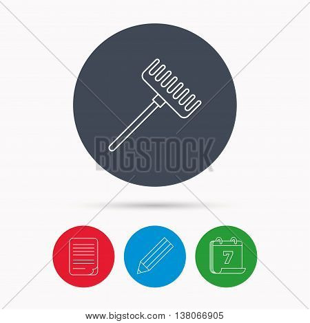 Rake icon. Gardening equipment sign. Outdoor instrument symbol. Calendar, pencil or edit and document file signs. Vector