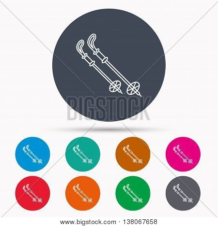 Skiing icon. Ski sticks or poles sign. Winter sport symbol. Icons in colour circle buttons. Vector