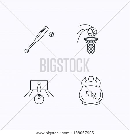 Baseball, bowling and basketball icons. Weight linear sign. Flat linear icons on white background. Vector