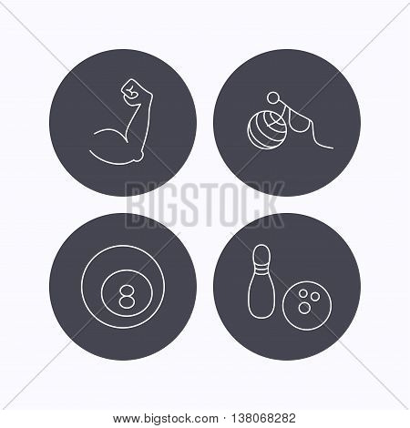 Billiards, bowling and fitness sport icons. Muscle, gymnastics for pregnant linear signs. Flat icons in circle buttons on white background. Vector