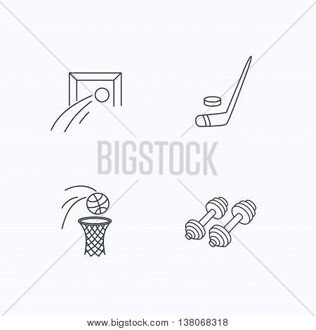 Football, ice hockey and fitness sport icons. Basketball linear sign. Flat linear icons on white background. Vector