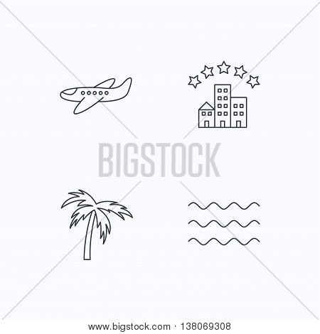 Airplane, waves and palm tree icons. Hotel linear sign. Flat linear icons on white background. Vector
