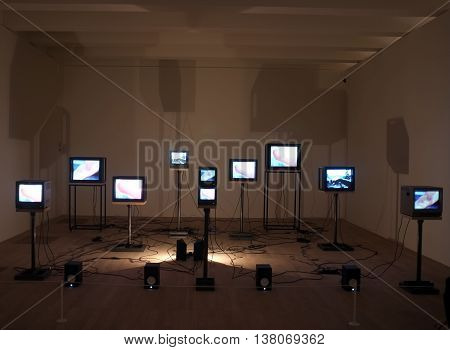 Video art installation in New Tate Gallery building in London