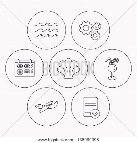 Shell, waves and cocktail icons. Airplane linear sign. Check file, calendar and cogwheel icons. Vector