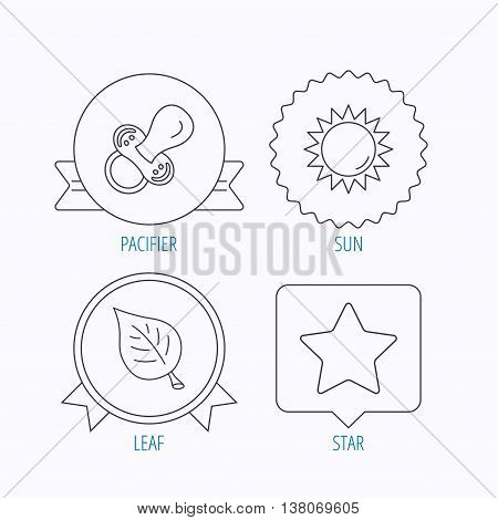 Leaf, star and sun icons. Pacifier linear sign. Award medal, star label and speech bubble designs. Vector