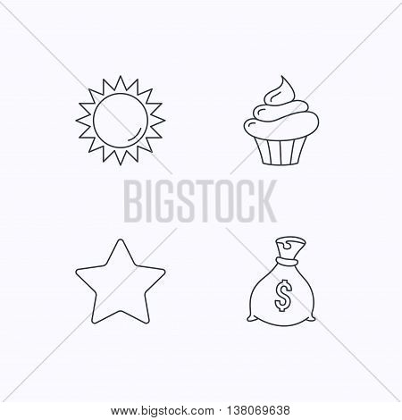 Sun, star and cupcake icons. Money bag linear sign. Flat linear icons on white background. Vector
