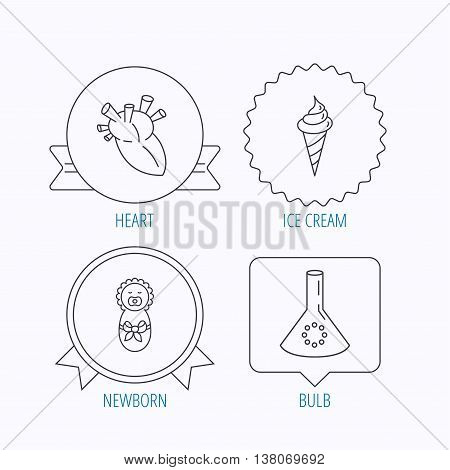 Newborn, heart and lab bulb icons. Ice cream linear sign. Award medal, star label and speech bubble designs. Vector