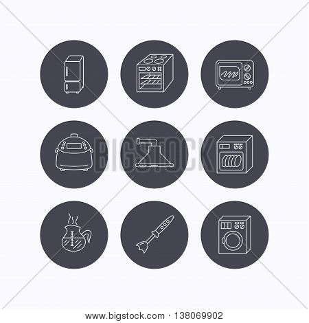 Microwave oven, washing machine and blender icons. Refrigerator fridge, dishwasher and multicooker linear signs. Coffee icon. Flat icons in circle buttons on white background. Vector