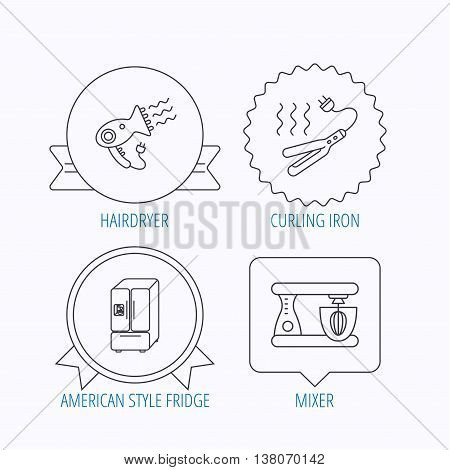 Curling iron, hair dryer and blender icons. American style fridge linear sign. Award medal, star label and speech bubble designs. Vector