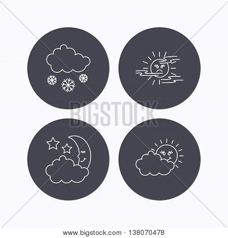 Weather, mist and snow icons. Moon night, clouds linear signs. Flat icons in circle buttons on white background. Vector