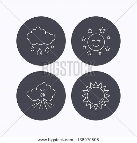Weather, sun and rain icons. Moon night and wind linear signs. Flat icons in circle buttons on white background. Vector