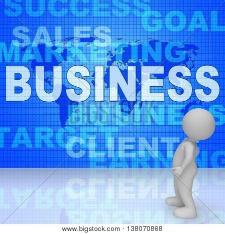 Business Words Shows Corporate Commerce And Buy 3D Rendering