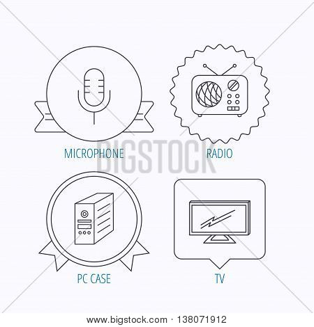 TV, retro radio and microphone icons. PC case linear sign. Award medal, star label and speech bubble designs. Vector