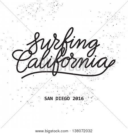 Surfing California lettering art print
