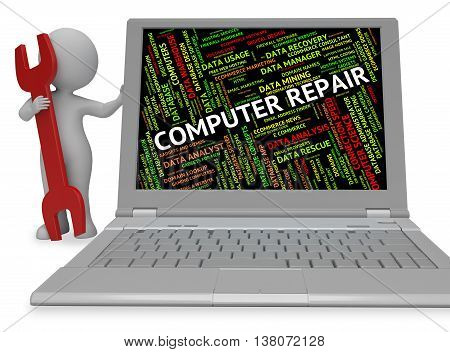 Computer Repair Means Repairs Communication And Mends 3D Rendering