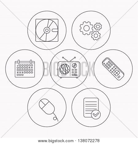 Hard disk, radio and TV remote icons. PC mouse linear sign. Check file, calendar and cogwheel icons. Vector