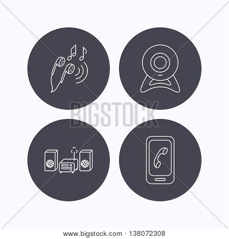 Smartphone, web camera and headphones icons. Music center linear sign. Flat icons in circle buttons on white background. Vector