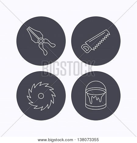 Pliers, circular saw and bucket of paint icons. Saw linear signs. Flat icons in circle buttons on white background. Vector