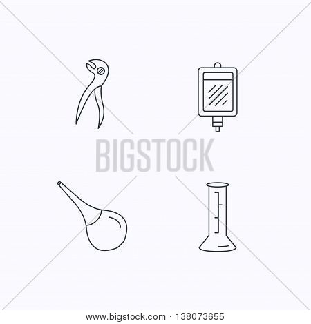 Beaker, blood and dental pliers icons. Clyster linear sign. Flat linear icons on white background. Vector