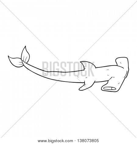 freehand drawn black and white cartoon hammerhead shark