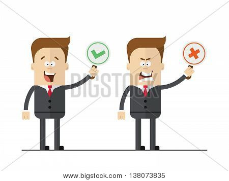 Cartoon office worker holding right and wrong signs. Isolated vector set.