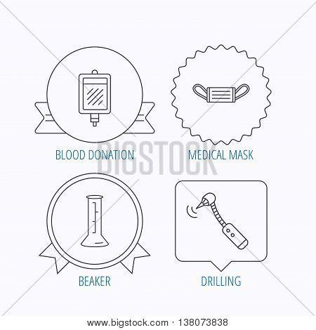 Medical mask, blood and drilling tool icons. Beaker linear sign. Award medal, star label and speech bubble designs. Vector