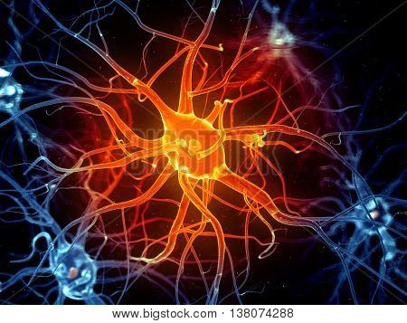 3d rendered illustration of an active nerve cell