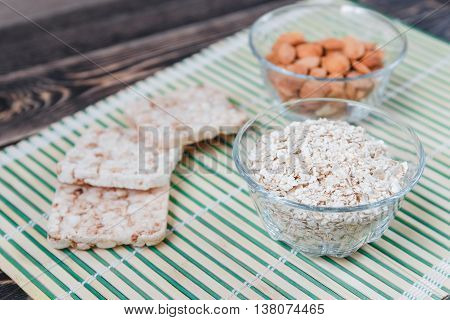 Plate with Oat Flakes and Nuts, Healthy Eating Concept