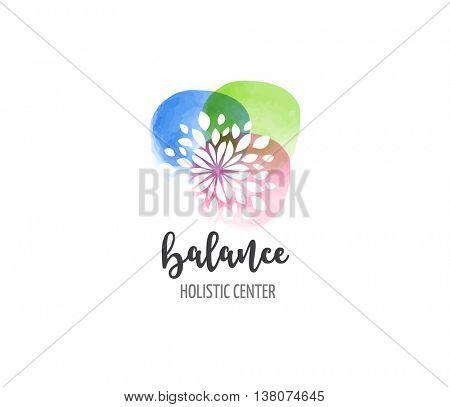 Alternative medicine and wellness, yoga, zen meditation concept - vector watercolor icon, logo