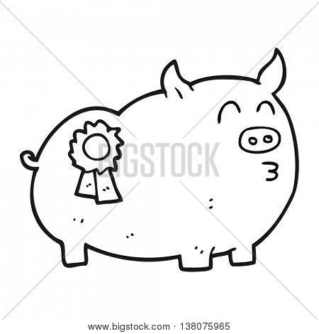 freehand drawn black and white cartoon prize winning pig