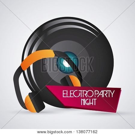 Electro party and music concept  represented by headphone and speaker icon. Colorfull and grey background.