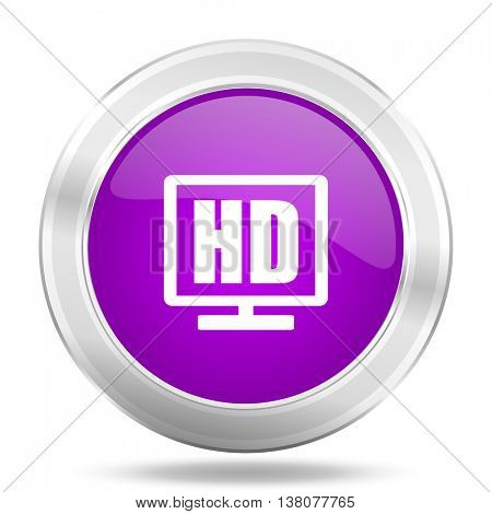 hd display round glossy pink silver metallic icon, modern design web element