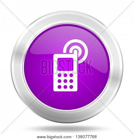 phone round glossy pink silver metallic icon, modern design web element