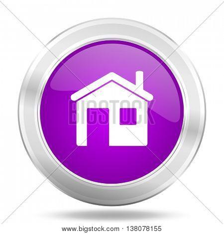 house round glossy pink silver metallic icon, modern design web element