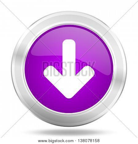 download arrow round glossy pink silver metallic icon, modern design web element